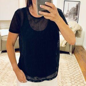 Armani Exchange Black Double Layer Top Size XS